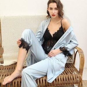 Image 2 - 2019 avrupa kadın Pijama setleri uzun kollu ipek saten dantel rahat 3 adet setleri kıyafeti Pijama gevşek ince gecelik Pijama