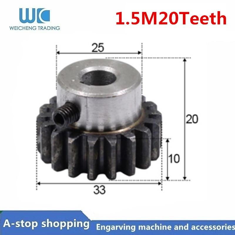 Spur Gear Pinion 20teeth Mod 1.5 M=1.5  Bore8/10/12/15mm Right Teeth 45# Steel Positive Gear CNC Gear Rack Transmission Motor