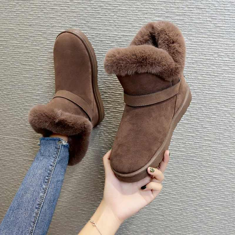 Women Winter Snow Boots Fur Plush Ladies Suede Ankle Boot Slip On Buckle Strap Flat Platform Female Casual Shoes Comfort Warm