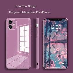 Caixa de telefone de vidro temperado quadrado para iphone 11 12 pro max anti-knock caso de pele do bebê fram para iphone xs max x xr 7 8 mais capa