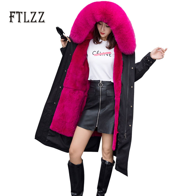 Warm Faux Lamb Liner   Parkas   Mujer Women New Fashion Black Long Jacket Winter Plus Size Hooded Faux Fur Collar Korea Snow Coats