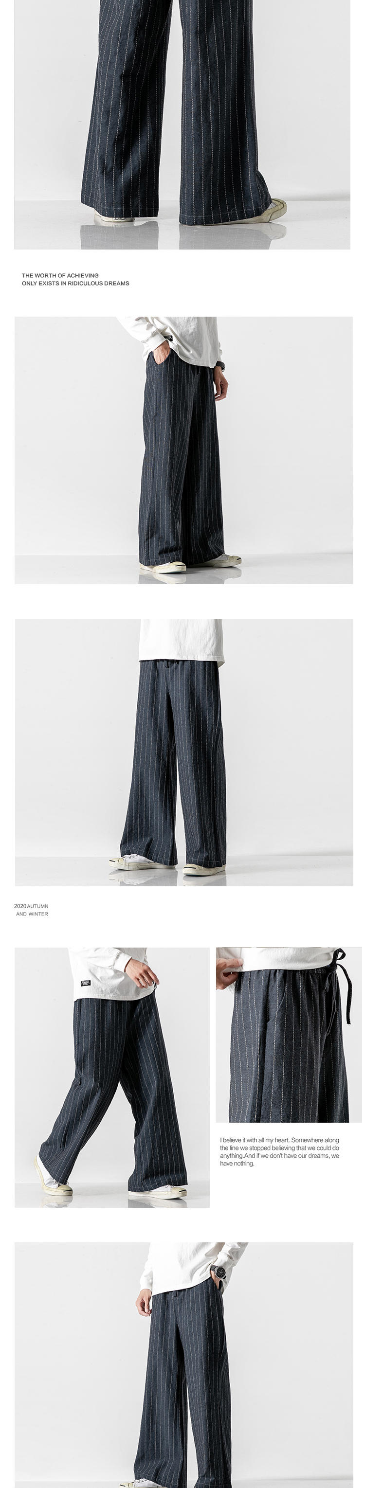 Sinicism Store Men Striped Chinese Style Wide Leg Pants Mens 2020 Japan Style Loose Trousers Male Oversize Vintage Casual Pants 34