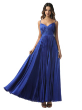 Elegant prom dress dark royal blue spaghetti straps a line pleats zipper up floor length evening party gown prom dresses