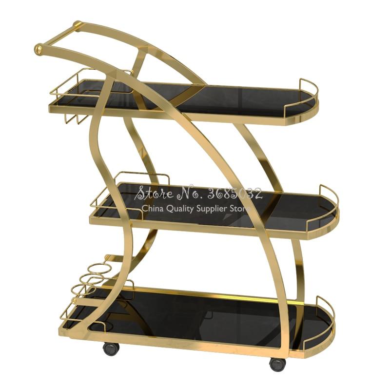 KTV Golden Three-tier Trolleys Tea Cart Wine Cart Cake Rack Hotel Restaurant Mobile Dining Car