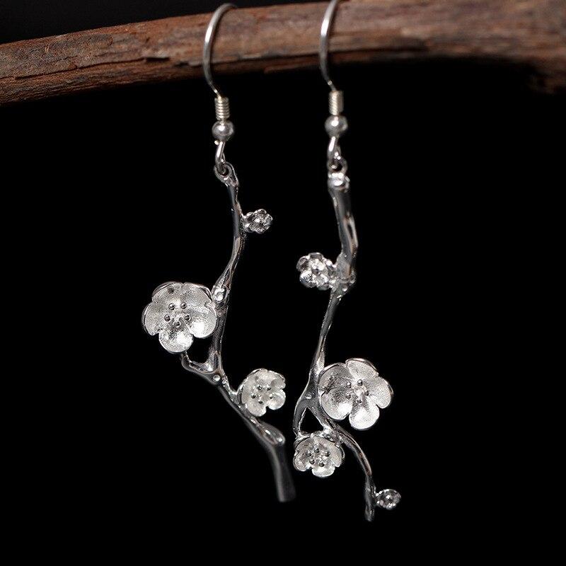 Real 925 Sterling Silver Drop Dangle Earring Plum Blossom Flower Hanging Earrings for Girl Womens Jewllery Korean Accessories