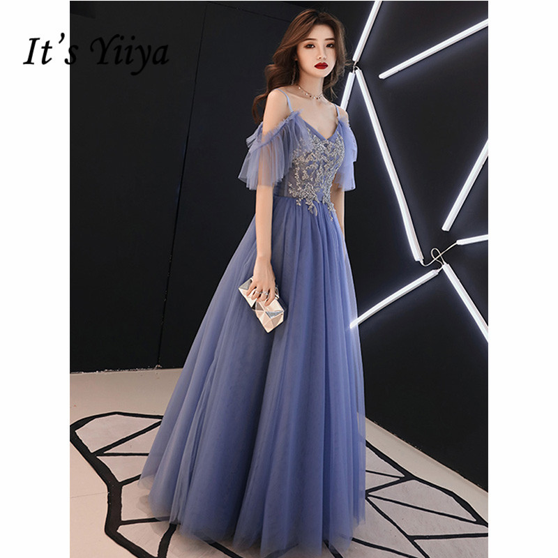 It's Yiiya Evening Dress Summer 2019 Boat Neck Appliques A-Line Dresses Elegant Spaghetti Strap Long Party Robe De Soiree E1073