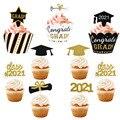 Класс 2021 торт фигурки жениха и невесты; Поздравляю Град для кексов для 2021 выпускные Колледж праздника вечерние украшения для торта на день р...