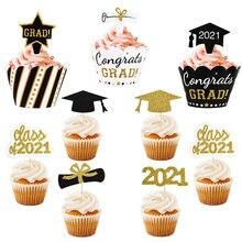 Klasse von 2021 Kuchen Topper Congrats Grad Cupcake Wrapper für 2021 Promotionen College Feier Party Geburtstag Kuchen Dekorationen