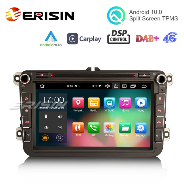 "Erisin 8105 8 ""Android 10.0 araba Stereo Carplay DSP DAB + WiFi USB GPS VW Passat Golf için 5/6 polo Amarok Tiguan Bora Skoda Seat"
