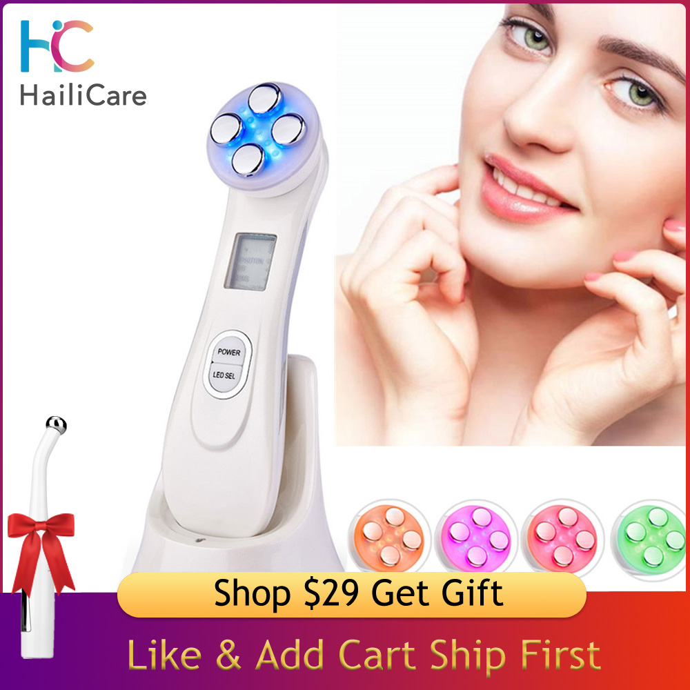 Led Photon Light Therapy Device Facial Led Electroporation Mesotherapy Massager RF EMS Face Lifting Wrinkles Removal Skin Care