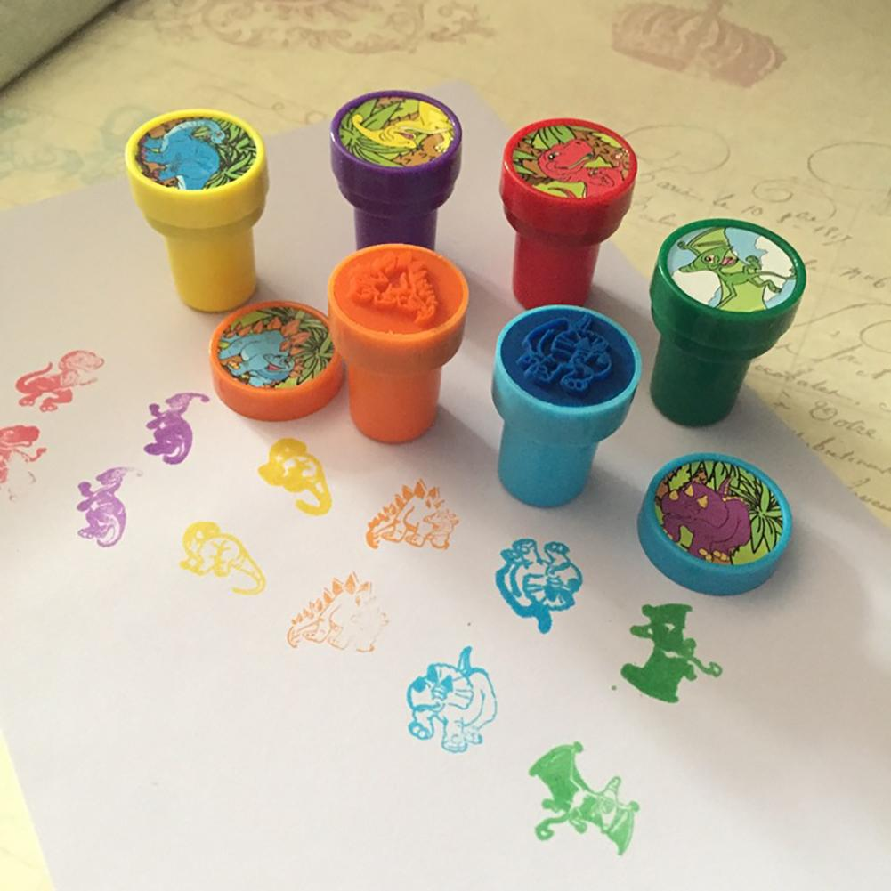 6Pcs Colorful Cartoon Dinosaur Self-Ink Stamps Sealing Gift Cards Art Toy For Kids Children Baby Birthday Xmas Gifts