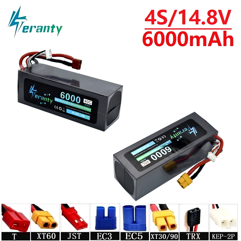 Teranty Power 14.8v 6000maH 40C <font><b>Lipo</b></font> Batterry For RC Drone Boat Quodcopter Spare Parts <font><b>4s</b></font> <font><b>5200mah</b></font> 14.8v Batteries T/XT60 Plug image