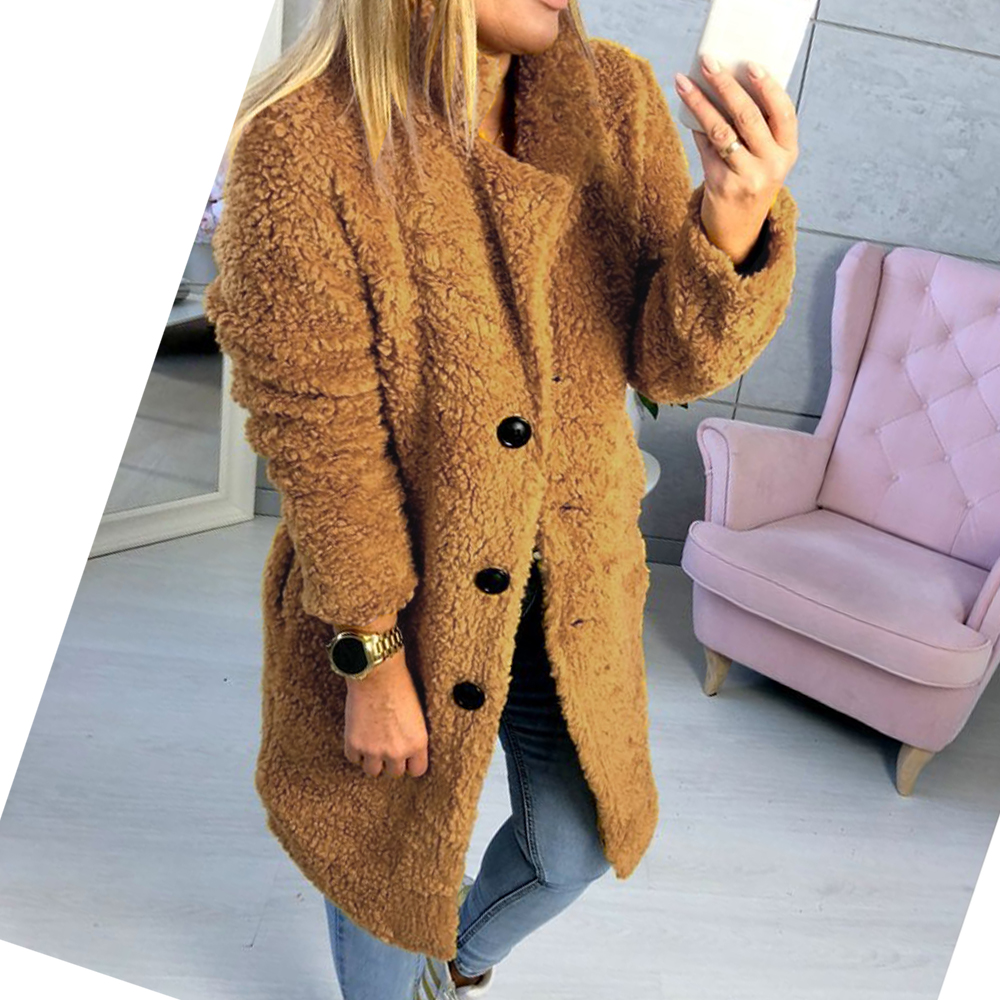 2019 Faux Fur Coat Women Teddy Winter Thick Warm Clothes Fluffy Long Jackest And Coats Lapel Shaggy Overcoat Button Outwear