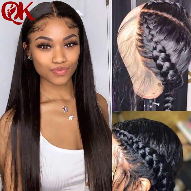 Invisible Fake Scalp Wig 13x6 Lace Front Human Hair Wigs Long Straight Glueless Preplucked And Bleached Knots Remy Hair