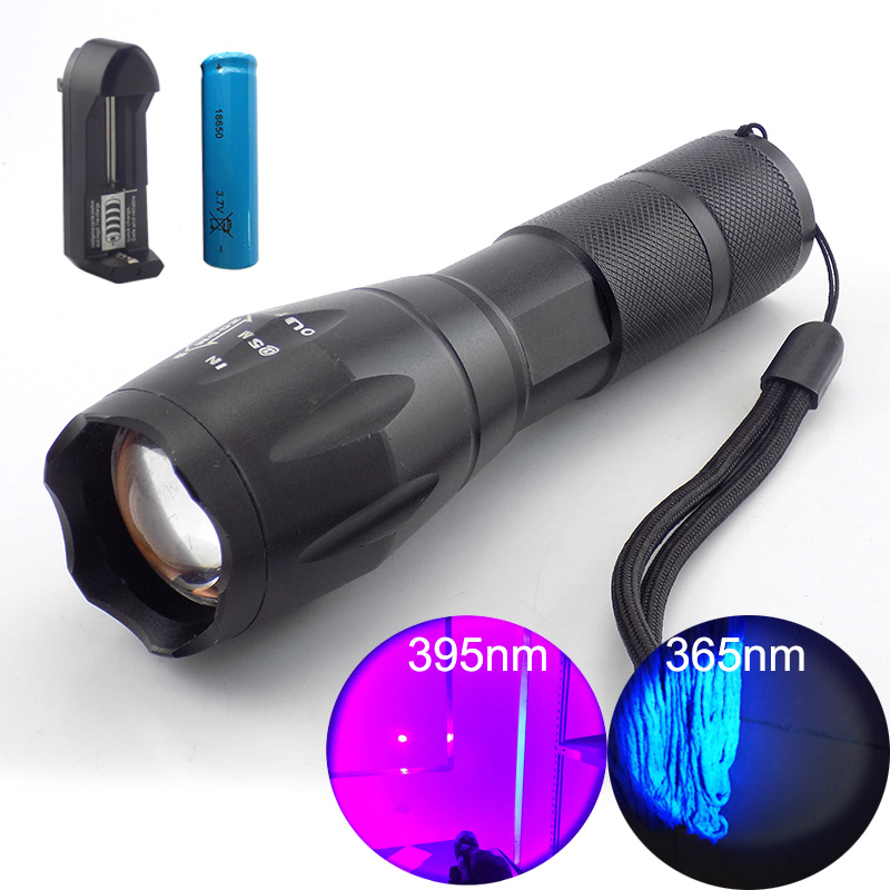 Portable 395nm UV LED Flashlight Ultra Violet Light Zoomable Torch 18650 Lamp