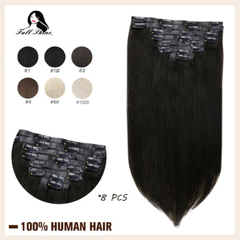 Full Shine Seamless Clip in Human Hair Extensions 8Pcs 100g Blond Hair Pu Clip on Extension Pure Color Skin Weft Machine Remy full shine clip in human hair extensions balayage ombre color 10pcs 100g double weft 100