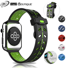 New Breathable Silicone Sports Band for Apple Watch 5 4 3 2 1 42MM 38MM rubber strap bands for Iwatch 5 4 3 40mm 44mm loop wrist silicone double buckle sports watch straps for apple watch band 44mm 42mm 40mm38mm series 5 4 3 2 1 wrist bands for iwatch strap