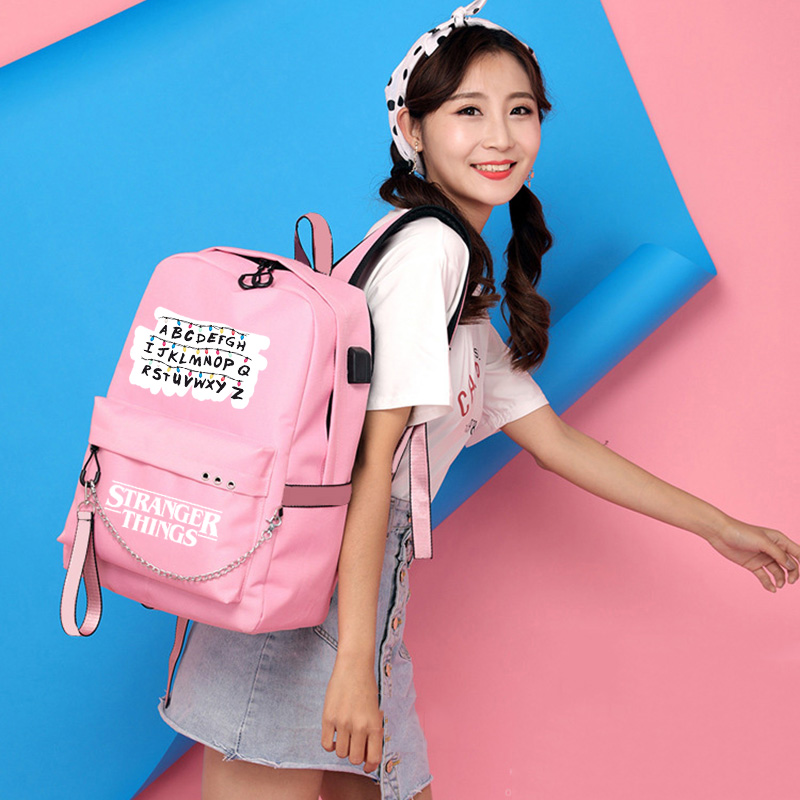 IMIDO Cute Letters Backpacks For Girls Casual School Students Stranger Things Shoulder Bag Women Large Capacity Travel Bags