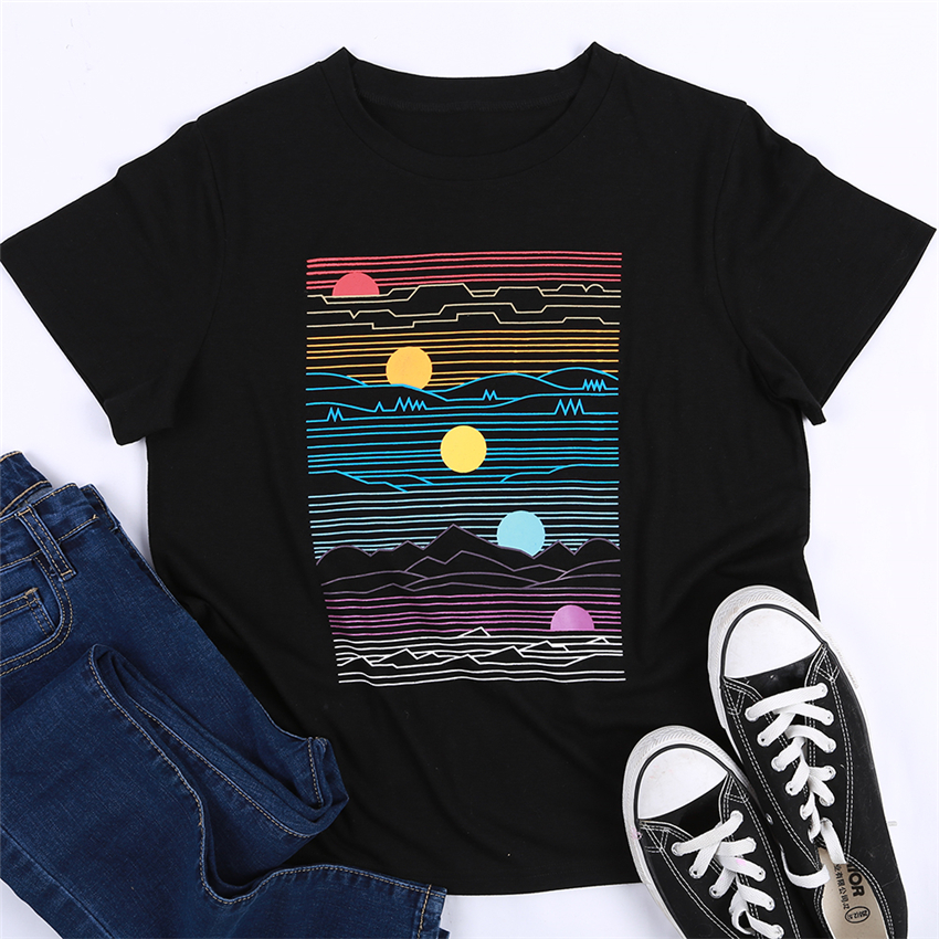 Color Sunset T Shirt Women Summer Tops Tee 2020 Fashion Short Sleeve T-shirt Casual O-neck Tee Shirts Women Clothes New Female T