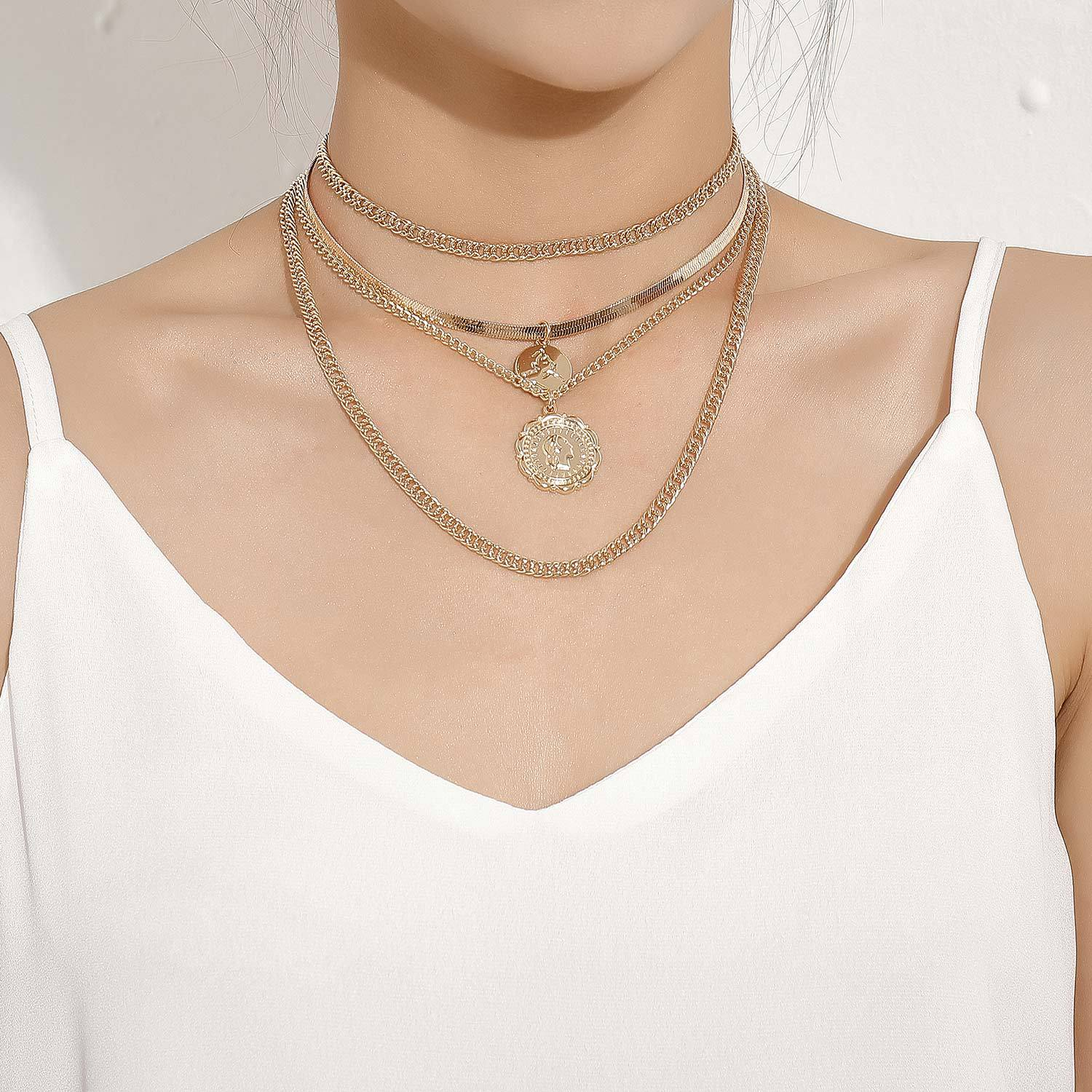 Alloy Round Pendant Necklace for Women Gold Silver Color Snake Chain Short Necklaces Female Clavicle Chains 2020 Fashion Jewelry