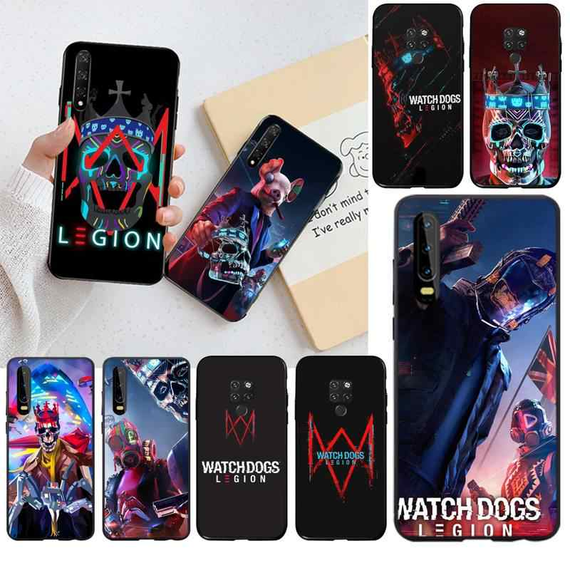 YJZFDYRM Hot Games Watch Dogs Legion Black Cell Phone Case for Huawei P40 P30 P20 lite Pro Mate 30 20 Pro P Smart 2019 prime
