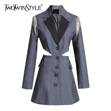 TWOTWINSTYLE Patchwork Tassel Hit Color Coats Women Lapel Collar Long Sleeve Tunic Hollow Out