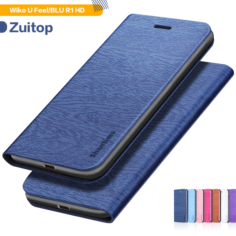 Wood grain PU Leather Phone Case For Wiko U Feel Flip Book Case For BLU R1 HD Business Wallet Case Soft Silicone Back Cover image