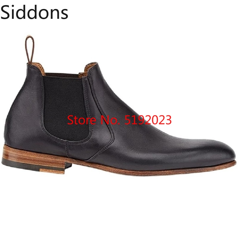 Winter Fashion British Men Top Quality PU Leather Slip On Boots Breathable Chelsea Boots Male Casual Zapatos De Hombre D164
