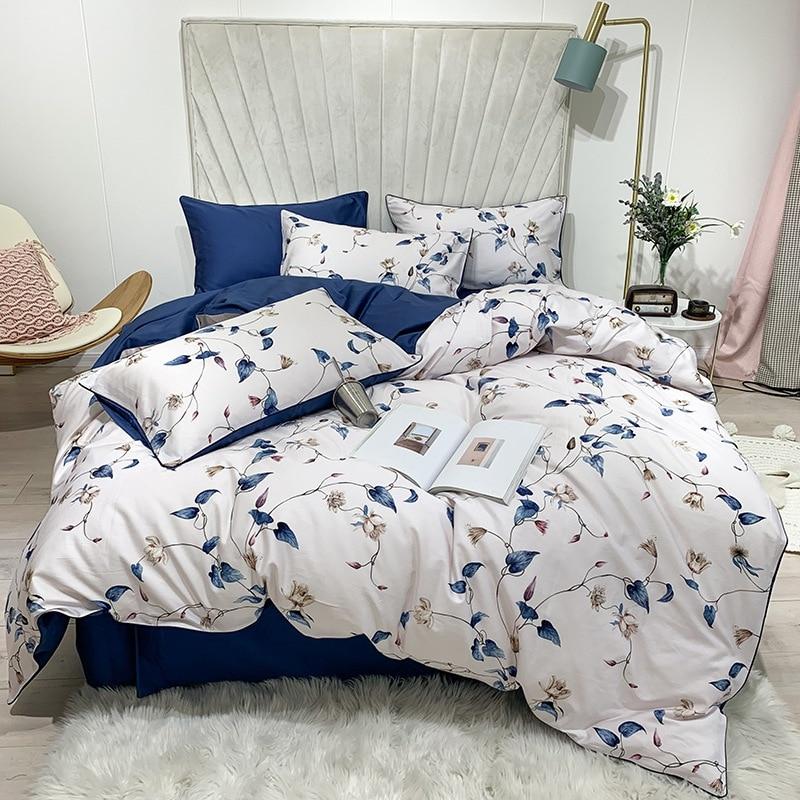 TUTUBIRD-Luxury European Egyptian cotton bed linen Soft Satin bedding floral pastoral duvet cover pillowcases bedspread 4pcs set