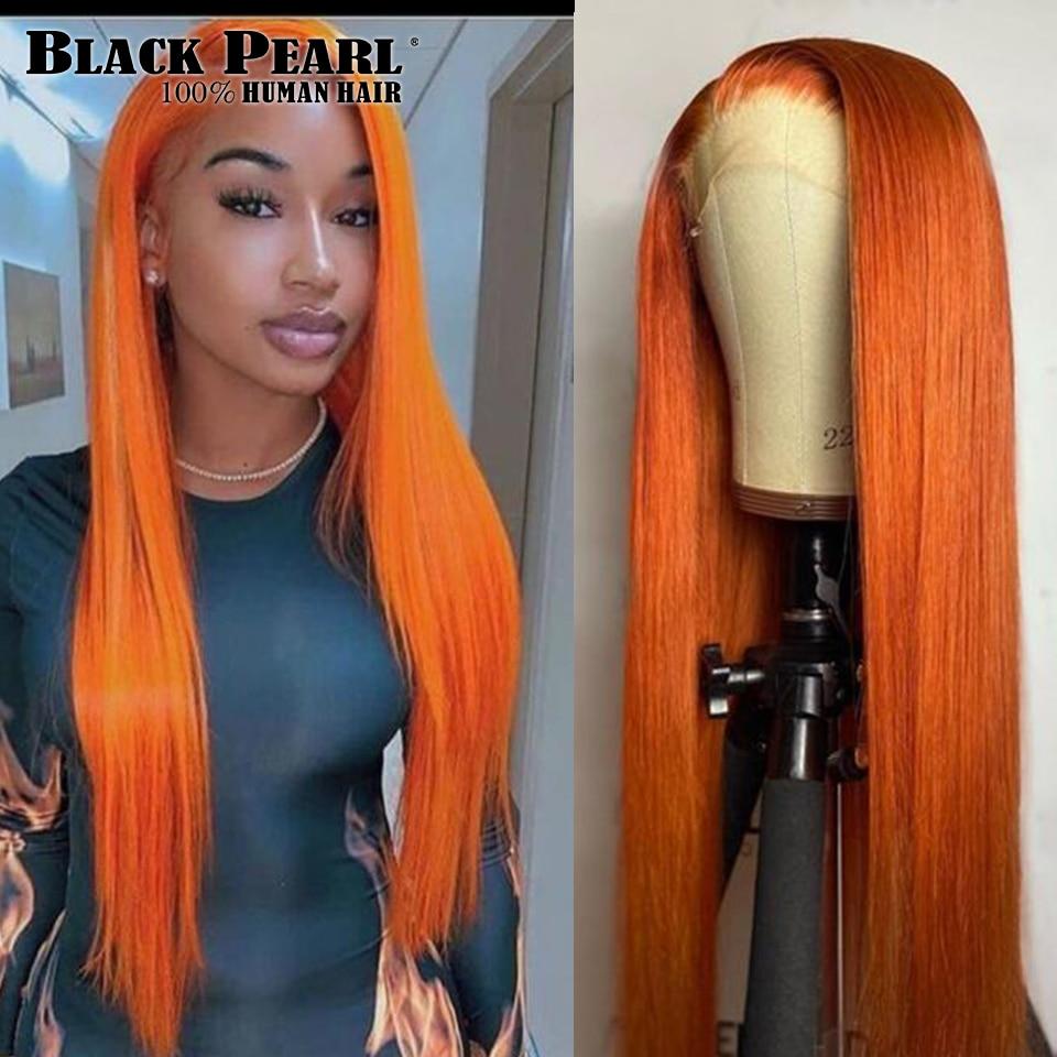 Pelucas de cabello humano liso brasileño, postizo de encaje transparente, Bob, Color naranja, 4x4, prearrancado
