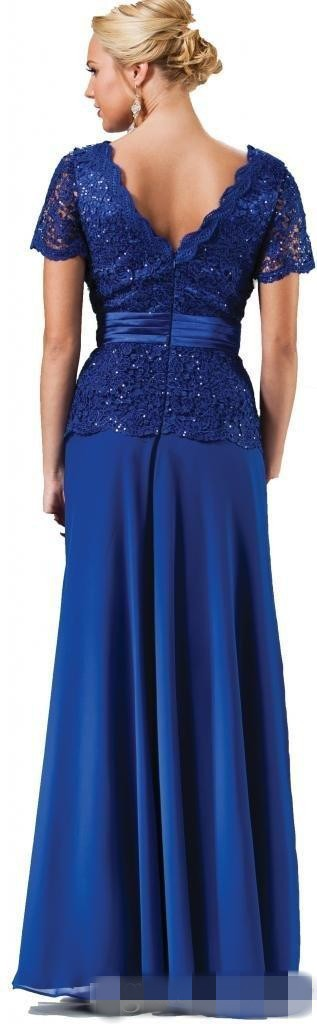 Royal Blue vestido de festa Short Sleeve Elegant Mother Of The Bride Dresses Long Chiffon Cheap V Neck Lace Formal Evening Dress