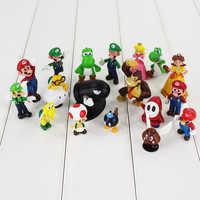 18 Uds Mario Bros figuras Luigi Toad Yoshi Koopa Troopa princesa melocotón Margarita Goomba chico tímido Troopa bala modelo bomba Juguetes