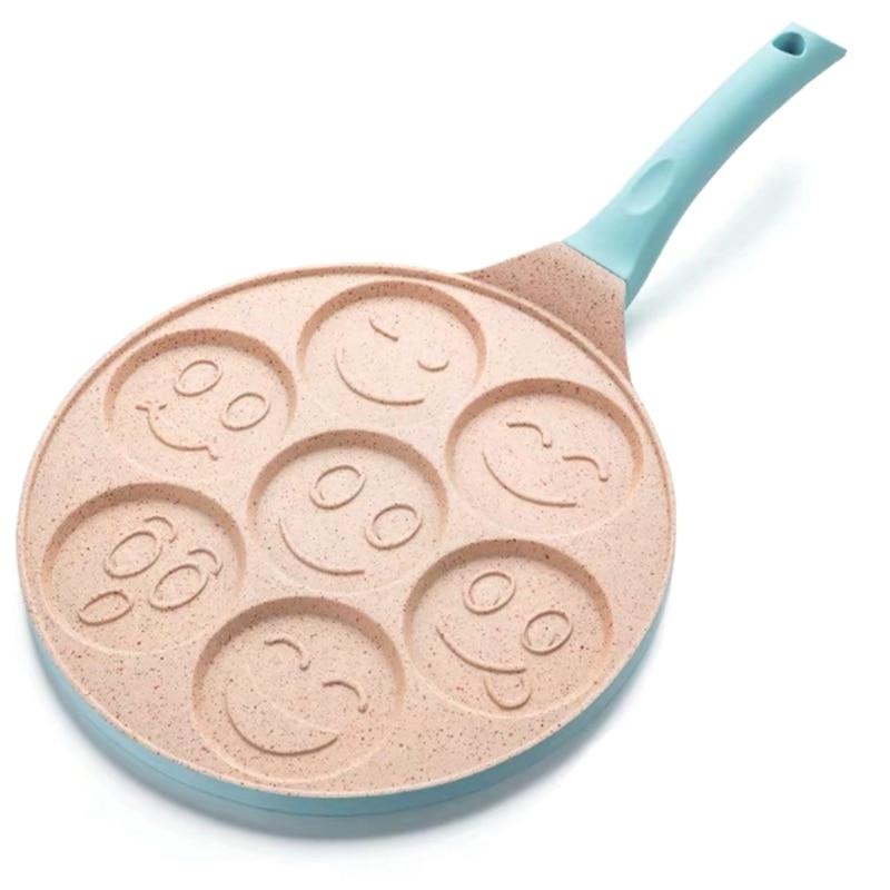 Smile Face Pancake Pan Fun 7 Holes Pancake Omelette Pan Non Stick Coating Pancake Pan Multifunction Breakfast Pot Baking Pan