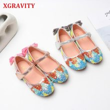 XGRAVITY Glitter Flats Child 2020 New Comfort Fashion Girls Footwear Colorful Rainbow Children Shoes Butterfly Shoes Girls V006(China)
