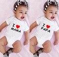 Боди для новорожденных из хлопка с коротким рукавом и надписью «I Love Mama and I Love Papa»
