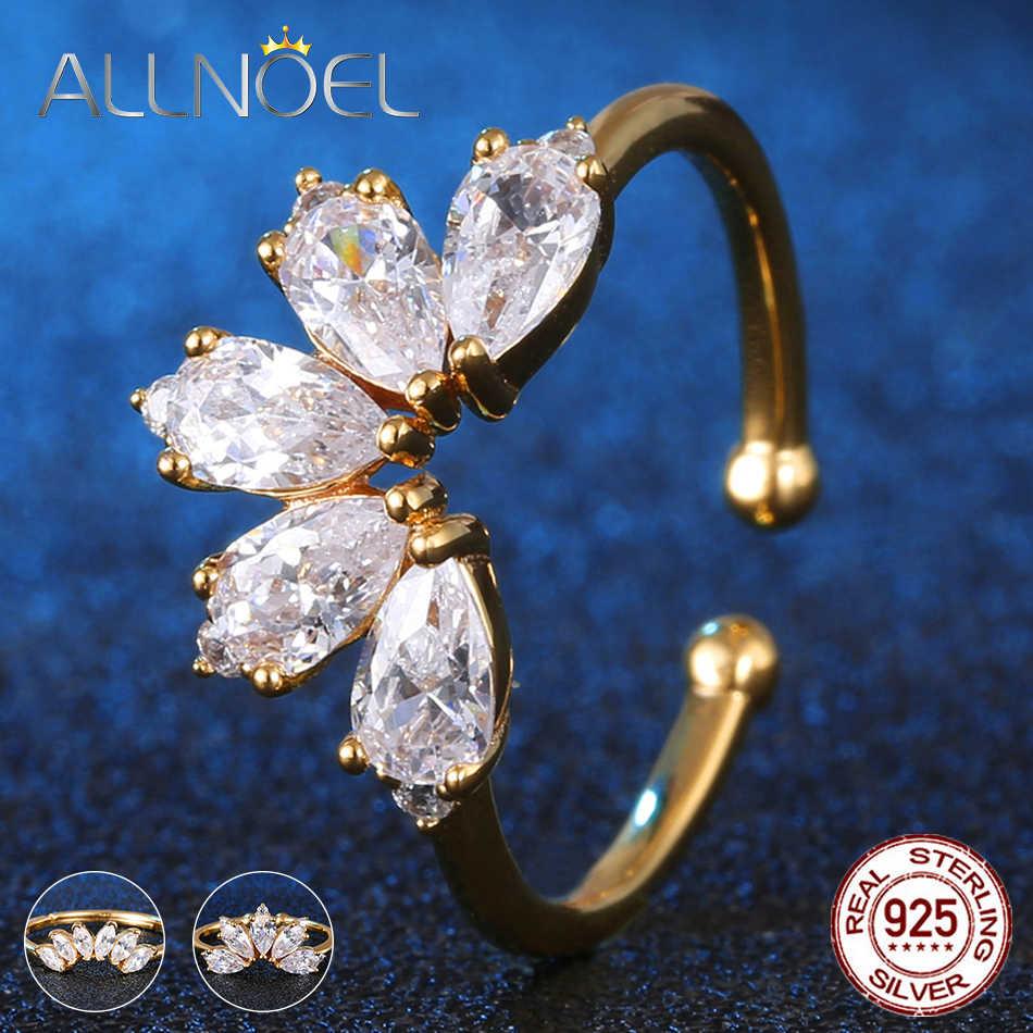 ALLNOEL серебро 925 Ювелирное кольцо с цирконием для женщин драгоценные камни желтое