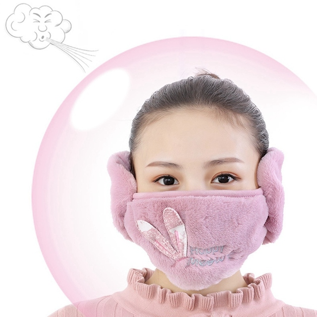 2 In 1 Rabbit Ear Earmuffs Kids Mouth Mask Windproof Mouth-Muffle Anti Dust Winter Children Anti Haze Flu Cotton Face Cover 5