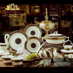 Plates Dinnerware-Set Dishes China Household And 60pcs-Bone Gifts Housewarming Court