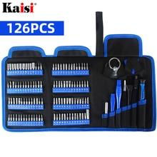 Kaisi chave de fenda conjunto precisão chave de fenda kit ferramenta magnética phillips torx bits 126 em 1 para telefones computador portátil reparação ferramenta mão