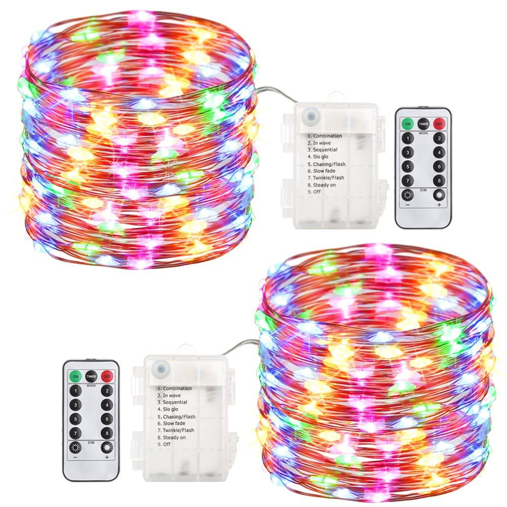 100 Led Fairy Lights Battery Operated String Lights With Remote Control 8 Mode Waterproof Lights For Home Garden Firefly Lights