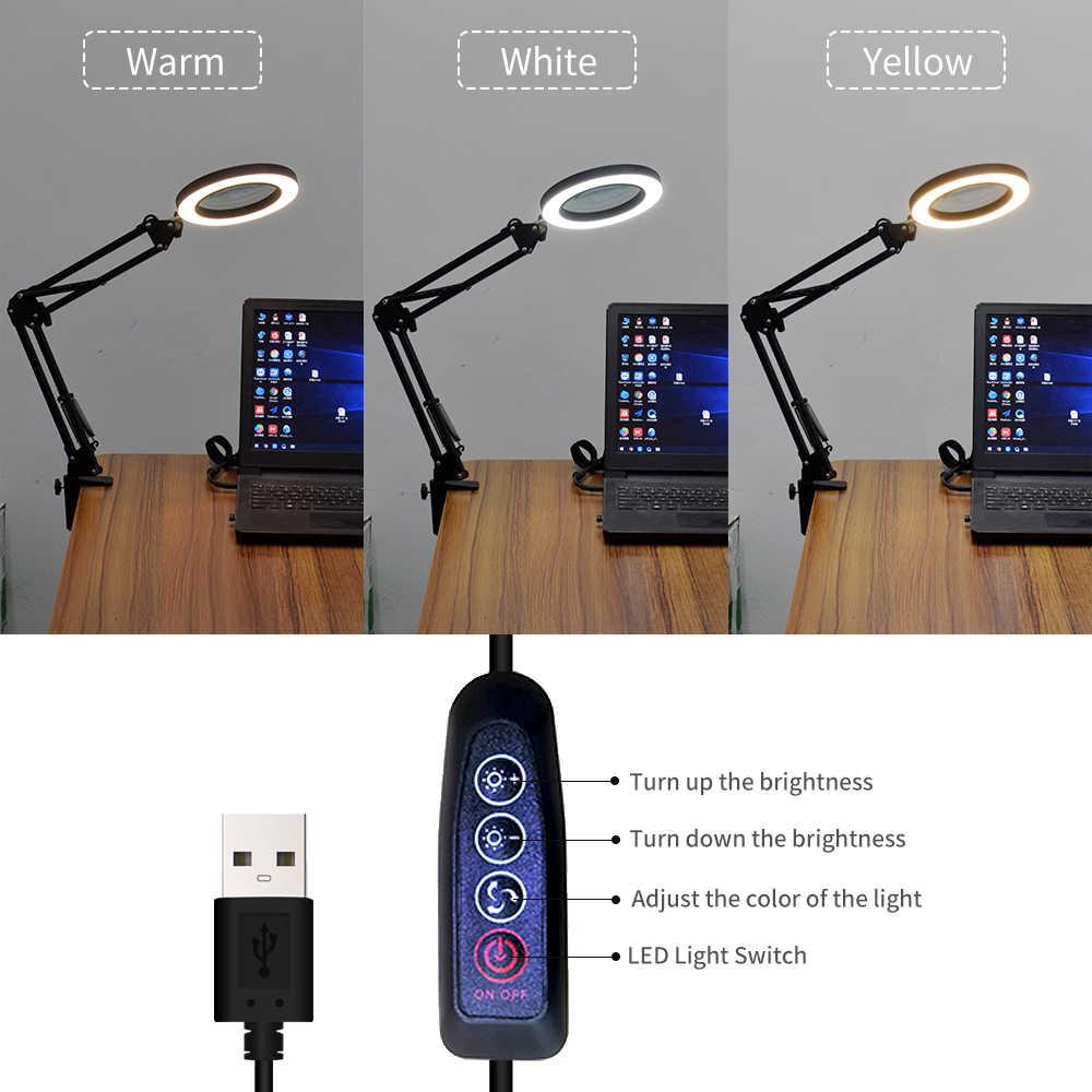 KKMOON الإضاءة LED 5X مكبرة مكتب زجاجي مصباح مع المشبك الأيدي USB بالطاقة LED مصباح المكبر مع 3 طرق عكس الضوء