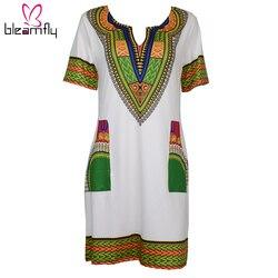 Atacado 3XL Dashiki Oversize Mulheres Sexy Vestido Para As Mulheres Vestido de Verão Vestidos de Impressão Africano Bazin Riche Roupas Tradicionais