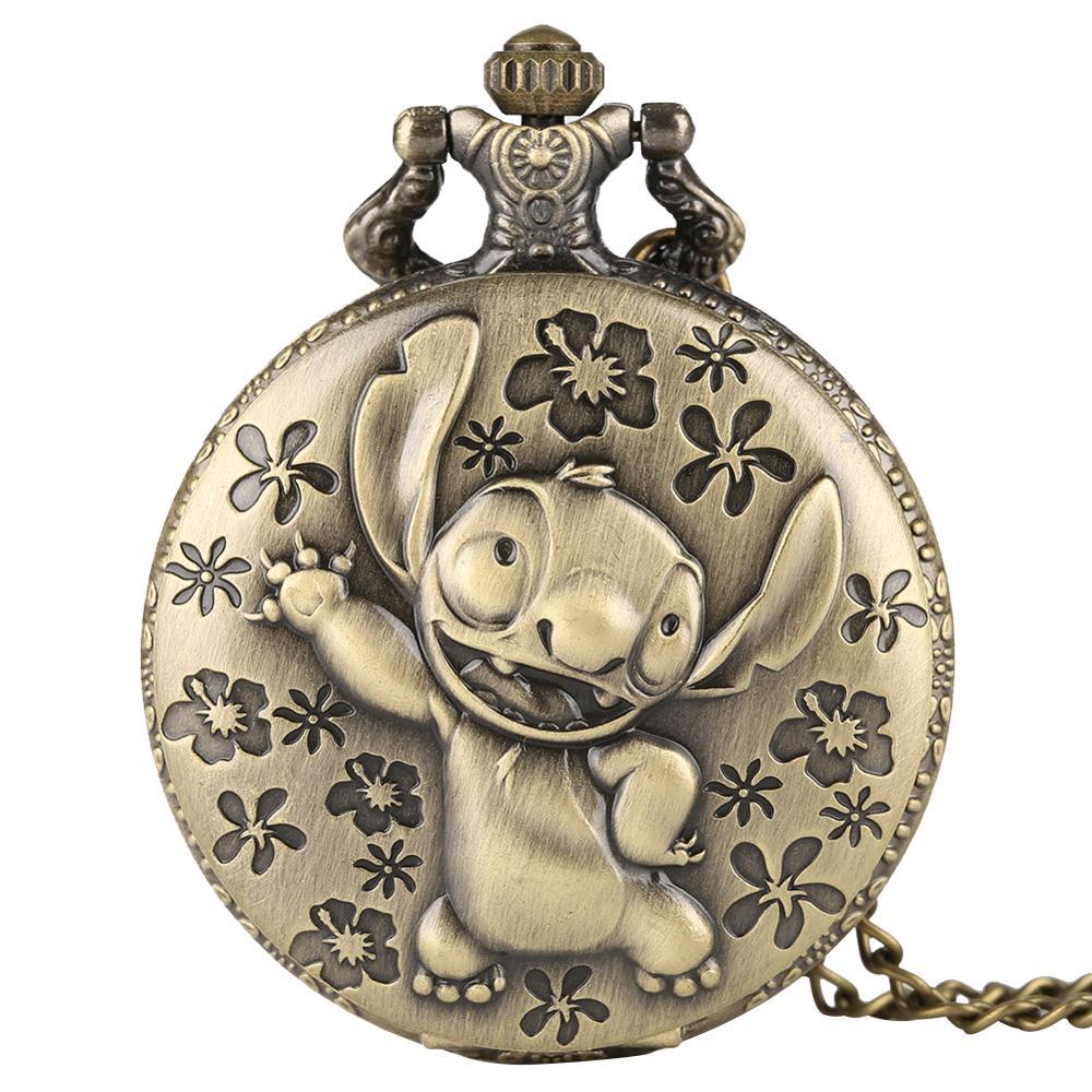 Cute Lilo & Stitch Theme Pocket Watch For Women Men Necklace Chain Browzn Quartz Pocket Clock For Children Gifts Zuster Klokje