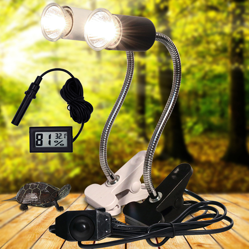 UVA+UVB 3.0 Reptile Lamp Set With Clip-on Bulb Lamp Holder And Thermometer Hygrometer Turtle Tortoises Basking Heating Lamp Kit