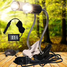 UVA+UVB 3.0 Reptile lamp Set with Clip-on Bulb Lamp Holder and Thermometer Hygrometer Turtle Tortoises Basking Heating Lamp Kit(China)