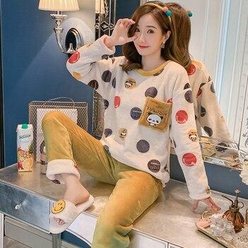 Autumn Winter Women Pyjamas Sets pajamas Sleepwear Suit Thick Warm Coral Flannel nightgown Female Cartoon Animal
