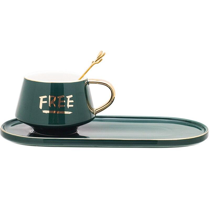 Перепелиная китайская кофейная чашка с золотой отделкой, ретро винтажная чашка для завтрака, с длинным лотком и золотой ложкой (любовь и бес...