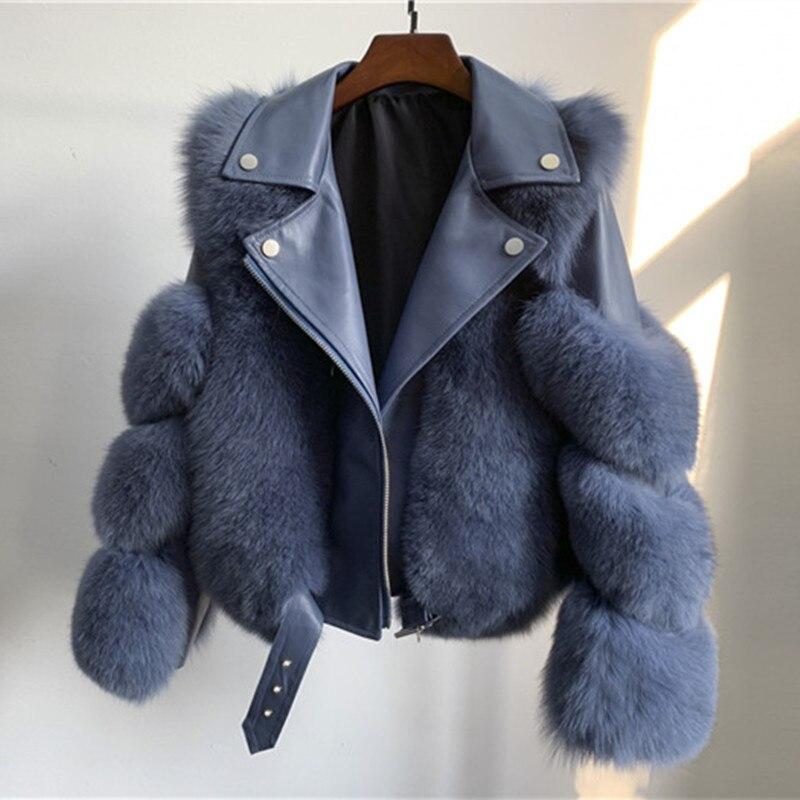 Women Warm Real Fox Fur Coat Short Slim Winter Genuine Fur Jacket Sheepskin Suit Collar Luxury Natural Fox Fur Coat