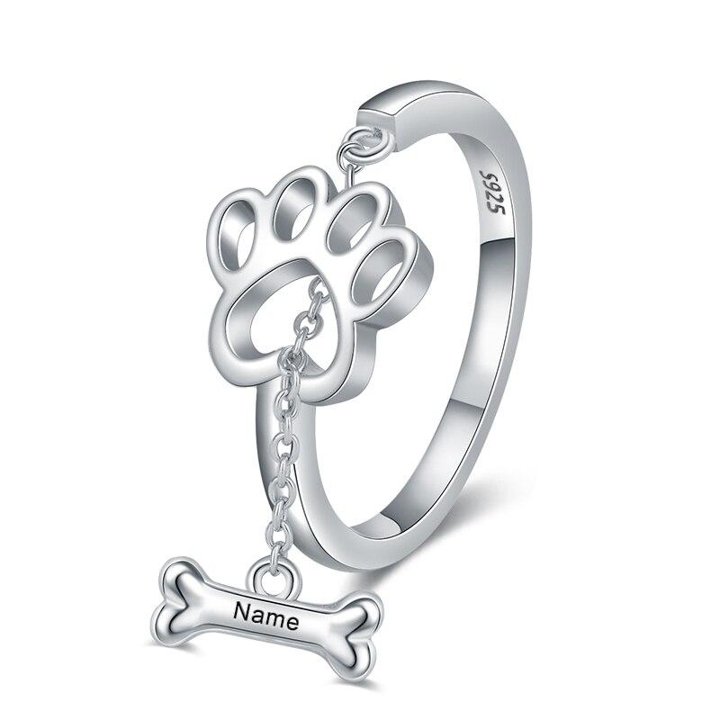 XiaoJing de Plata de Ley 925 de perro personalizado hueso garra grabado anillo de nombre personalizado de anillos de regalo para las mujeres joyería personalizada