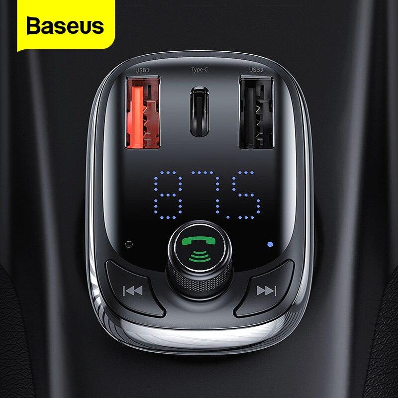 Baseus Quick Charge 4,0, свободные руки, FM передатчик, автомобильный Зарядное устройство для телефона Bluetooth 5,0 автомобильный комплект аудио MP3 плеер 36 В...